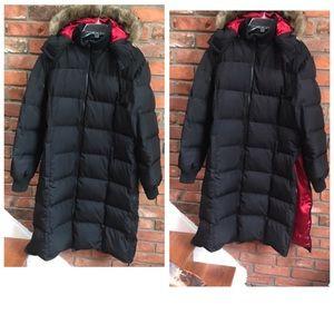Fen-Nelli Winter Down Long Puffer Coat Side Zips Hood Jacket Parka FauxFur Duvet